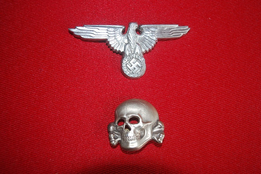 35637461f83 WW2 GERMAN SS HAT EAGLE AND SKULL INSIGNIA-SOLD
