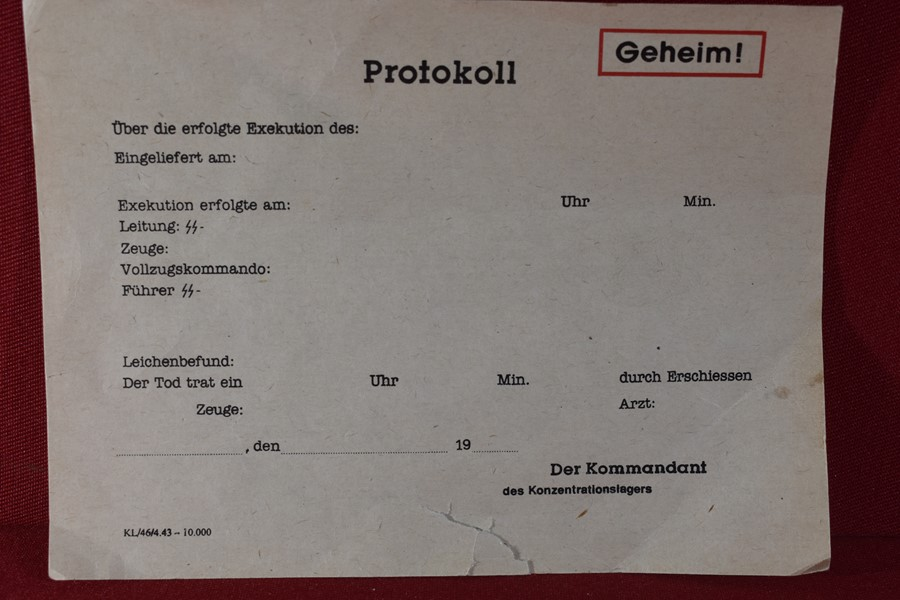 WW2 GERMAN SS BLANK EXECUTION ORDER-SOLD