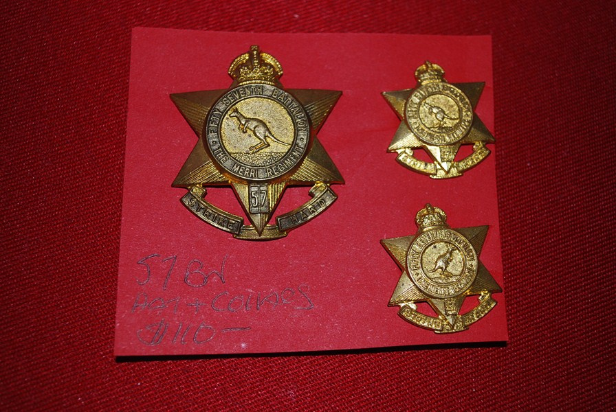 AUSTRALIAN  57 BN HAT AND COLLAR BADGES