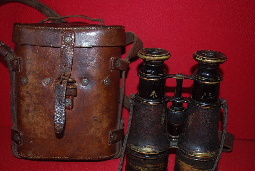 WW1 BRITISH ISSUED OFFICERS CASED FRENCH BINOCULARS-SOLD