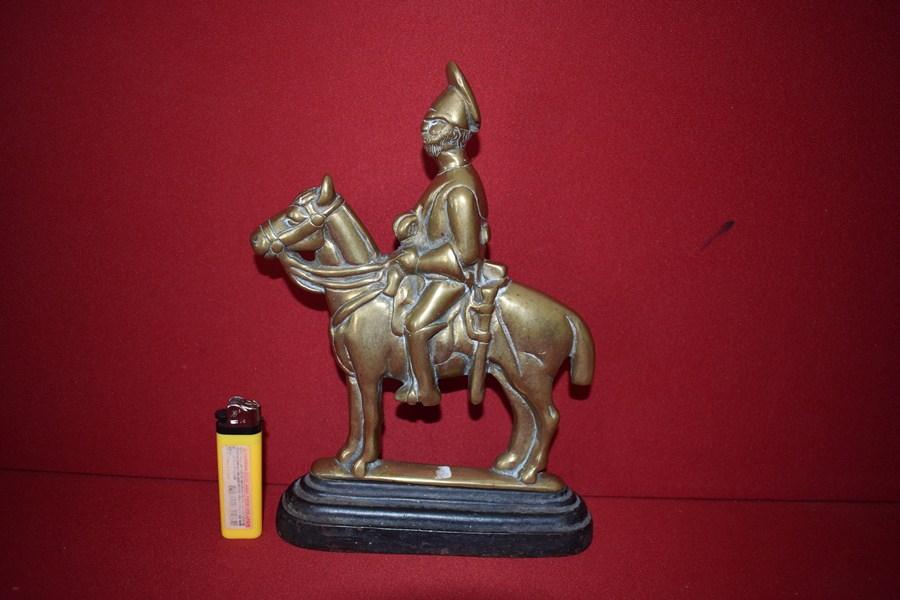 VICTORIAN ERA BRASS DOOR STOP MOUNTED DRAGOON-SOLD