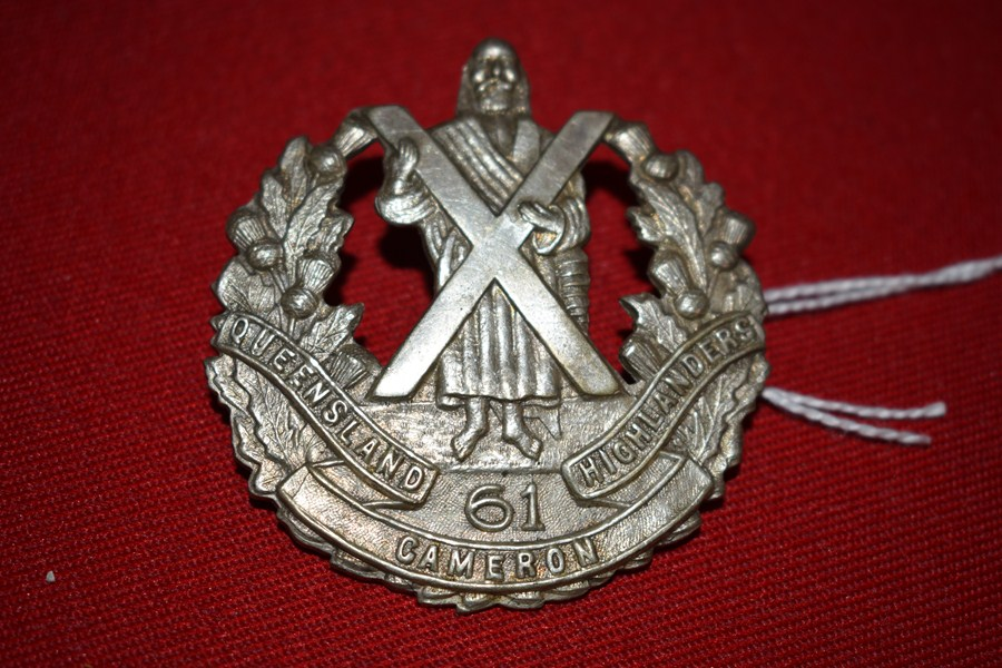 AUSTRALIAN ARMY HAT BADGE 61 BN QUEENSLAND SCOTTISH 30-42