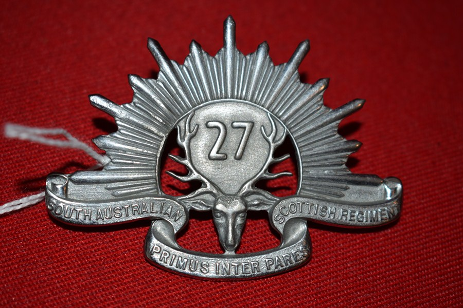 AUSTRALIAN ARMY HAT BADGE. 27 BN SOUTH AUSTRALIAN SCOTTISH. 30-42..