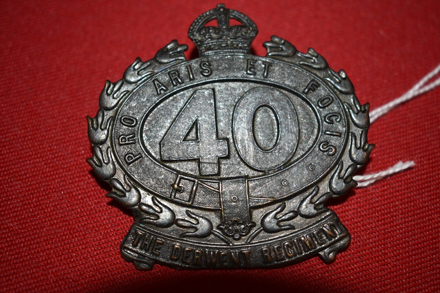 AUSTRALIAN ARMY HAT BADGE 40 BN THE DERWENT REGIMENT. 30-42