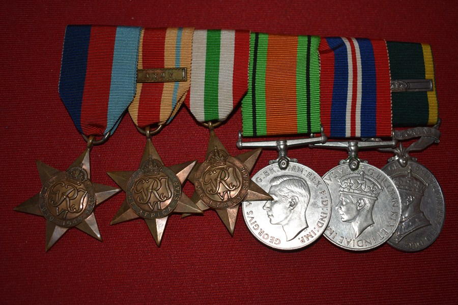 WW2 BRITISH 6 MEDAL GROUP AFRICA STAR & TERRITORIAL EFFICIENCY MEDAL -SOLD