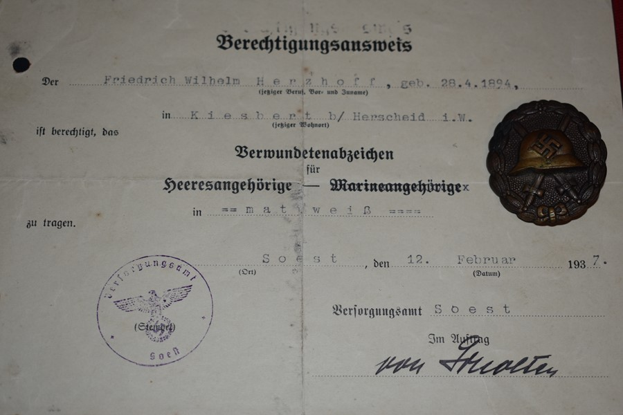 GERMAN CONDOR LEGION WOUND BADGE AND CERTIFICATE