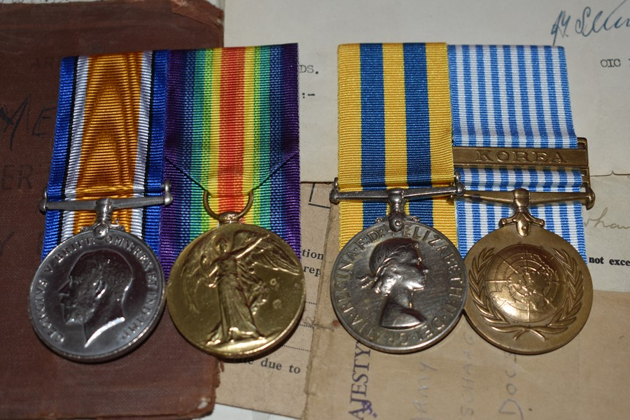 DURHAM LIGHT INFANTRY FATHER AND SON GROUP WW1 AND KOREAN WAR PAIRS