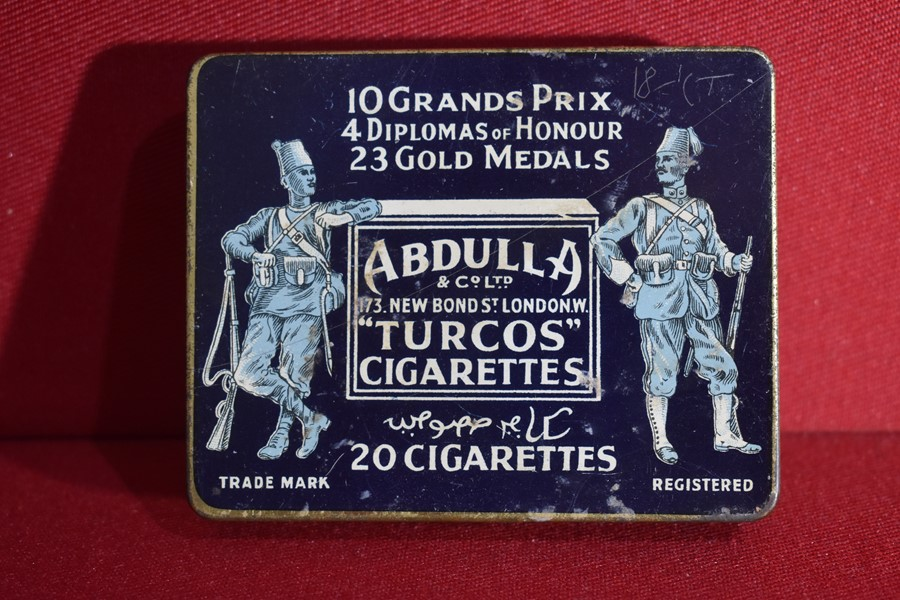 "MILITARY THEME CIGARETTE TIN ""ABDULLA TURCOS CIGARETTES""-SOLD"