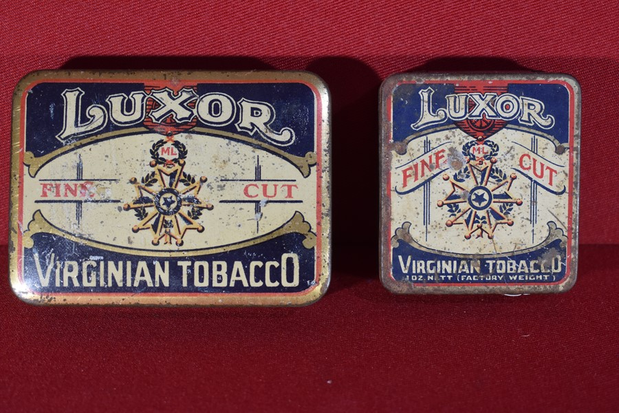 "PAIR OF WW1 PERIOD TOBACCO TINS ""LUXOR TOBACCO""-SOLD"