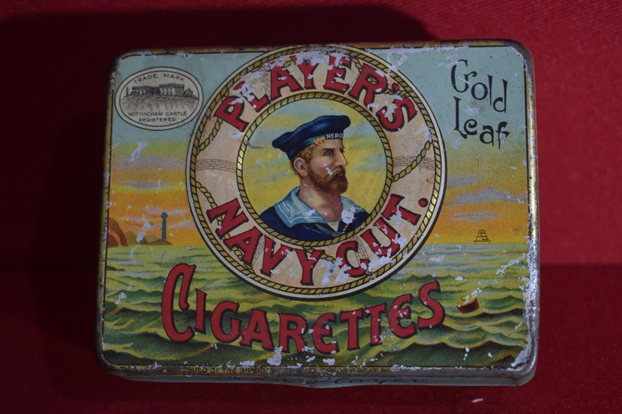 "MILITARY TIN ""PLAYERS NAVY CUT CIGARETTES""-SOLD"