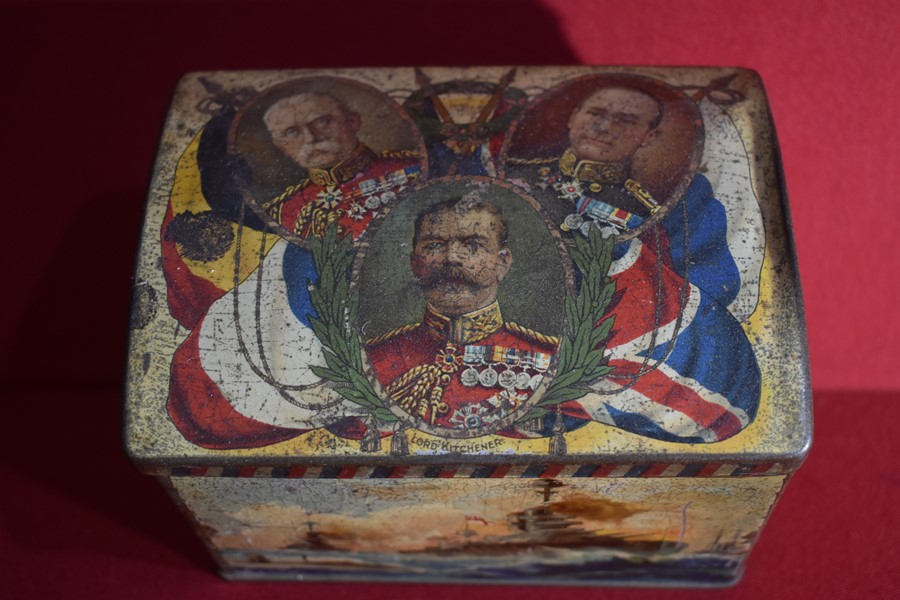 BOER WAR PERIOD PATRIOTIC BISCUIT TIN-SOLD