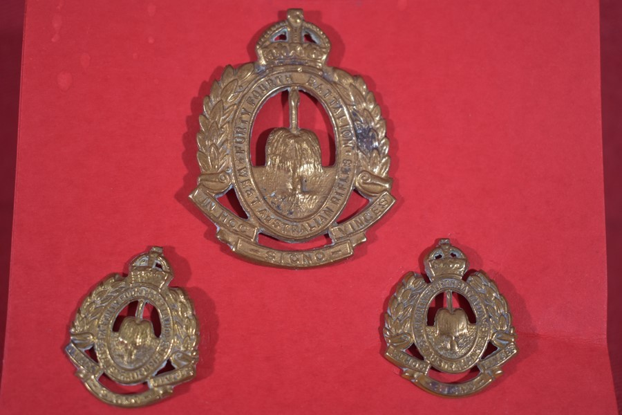 AUSTRALIAN 44th BATTALION (The West Australian Rifles) HAT/ CAP AND COLLAR BADGES 1930-42-SOLD