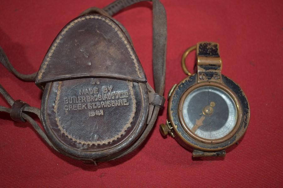 WW2 AUSTRALIAN ISSUED COMPASS AND LEATHER CASE-SOLD