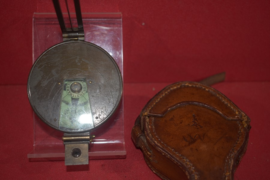 BOER WAR/WW1 PERIOD PRISMATIC COMPASS BY J.H. STEWARD 406 STRAND LONDON.-SOLD
