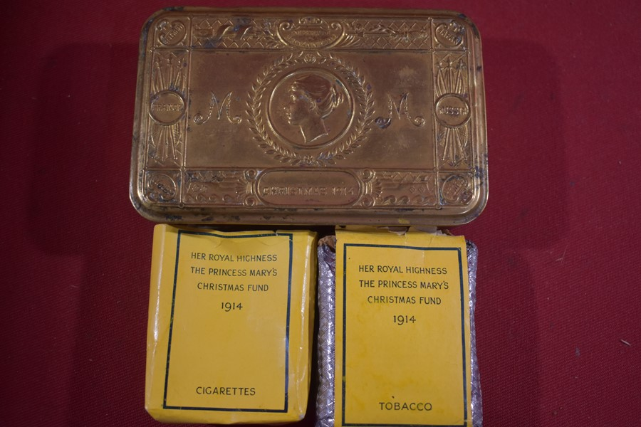 WW1 QUEEN MARY XMAS TIN 1914 WITH PARTIAL CONTENTS.-SOLD