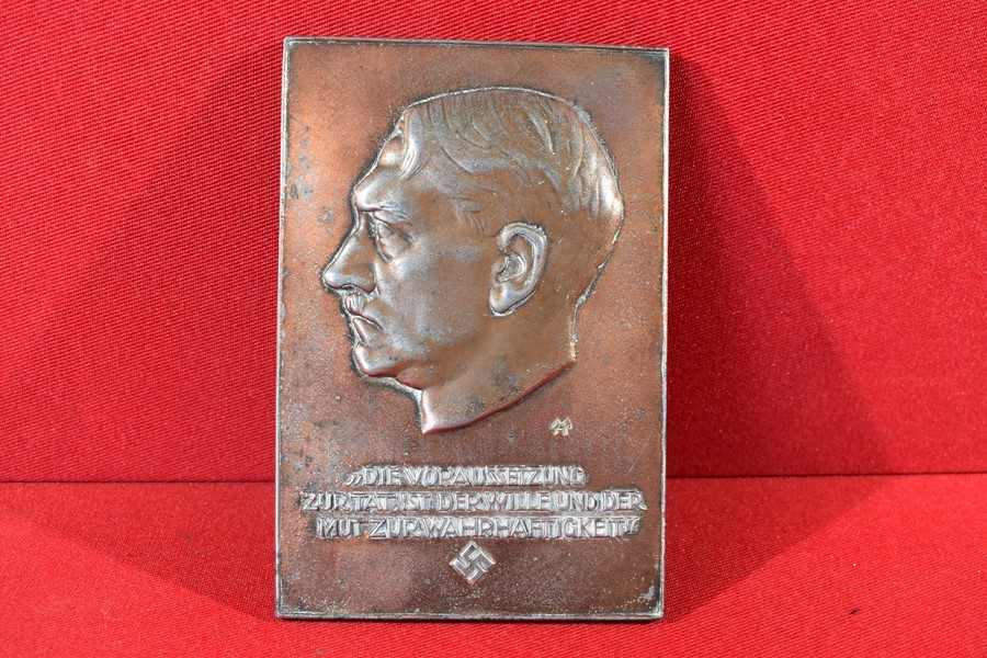 GERMAN WWII PATRIOTIC HITLER PLAQUE, NATURE STUDIES AWARD