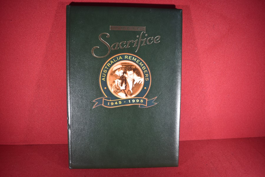 BOOK THEIR SACRIFICE, AUSTRALIA REMEMBERS 1945-1995 LIMITED EDITION SIGNED BY NANCY WAKE.-SOLD