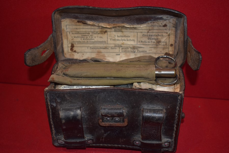 WW2 GERMAN ARMY FIELD MEDICAL POUCH AND CONTENTS.-SOLD