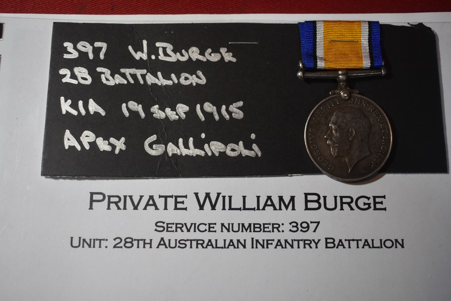 WW1 AUSTRALIAN BRITISH WAR MEDAL TO A PRIVATE KILLED IN ACTION GALLIPOLI 28 BN-SOLD