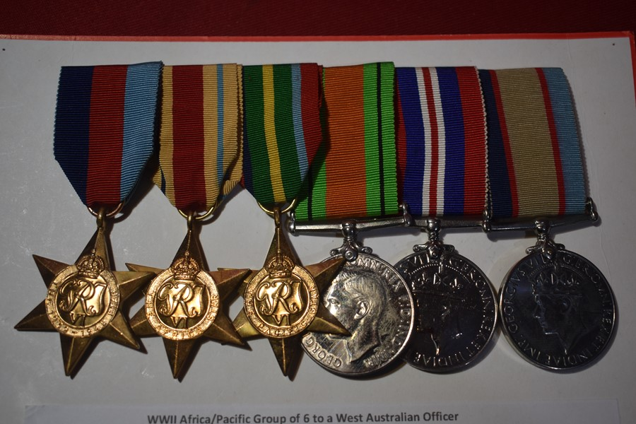 AUSTRALIAN WW2 AFRICA AND PACIFIC STAR GROUP OF 6 TO A WESTERN AUSTRALIAN OFFICER