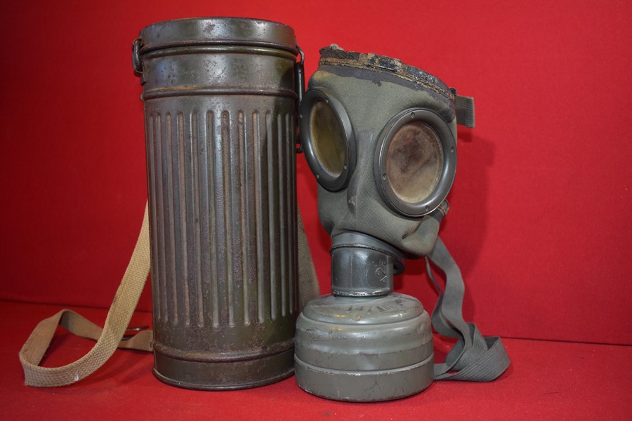 WW2 GERMAN ARMY GAS MASK AND CANNISTER-SOLD.