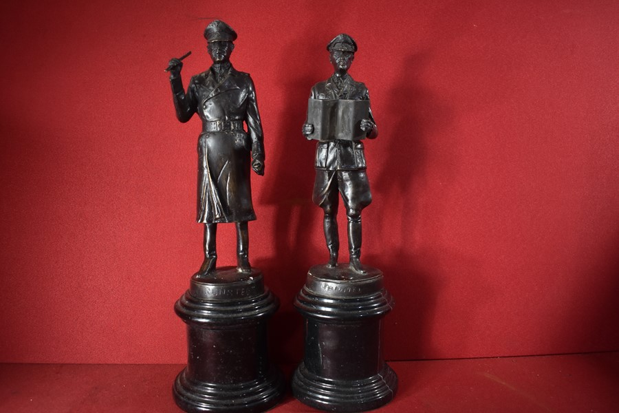 PAIR OF BRONZE STATUES GERMAN GENERALS ROMMEL AND RUNDSTEDT.