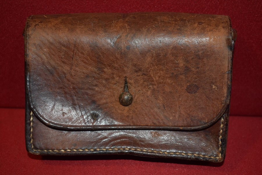 AUSTRALIAN LEATHER AMMO POUCH DATED 1911-SOLD