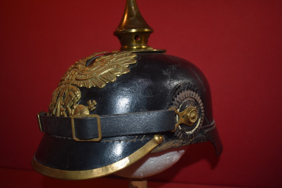 WW1 GERMAN SPIKE HELMET (PICKELHAUBE) WITH BRASS FITTINGS