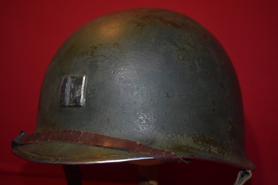 WW2 US M1 OFFICERS HELMET-FIXED BALE-FRONT SEAM-SOLD