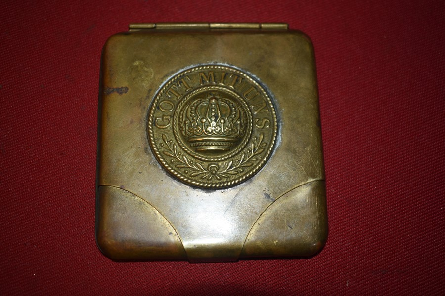 WW1 GERMAN TRENCH ART CIGARETTE OR CARD CASE - SOLD