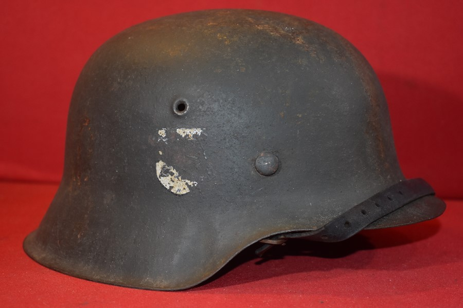 WW2 GERMAN M42 PARTIAL SINGLE DECAL SS HELMET.-SOLD
