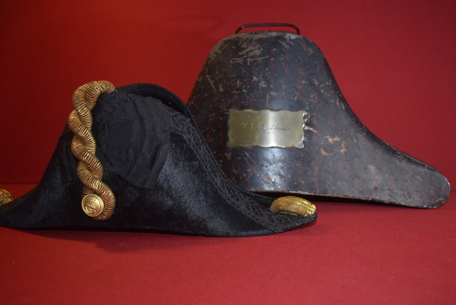 ROYAL NAVAL COCKED BICORN HAT WITH GILT METAL KNOTS FORE AND AFT IN JAPANNED TIN CASE.