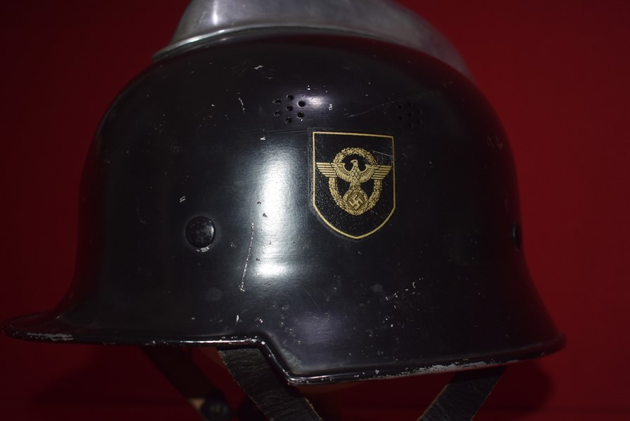 WW2 GERMAN DOUBLE DECAL FIREMANS HELMET 2ND PATTERN