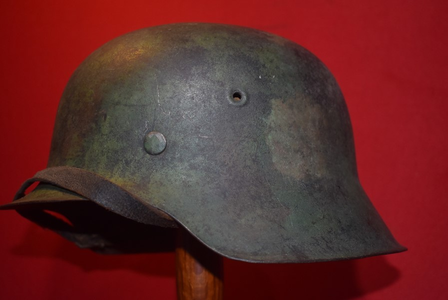 WW2 GERMAN M42 COMBAT HELMET WITH CAMO FINISH