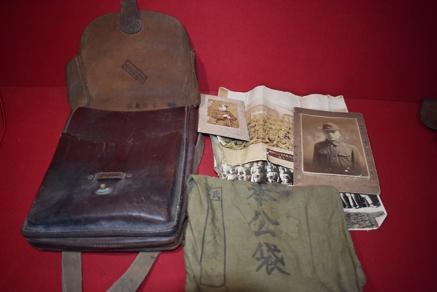 WW2 JAPANESE OFFICERS DOCUMENT BAG AND CONTENTS