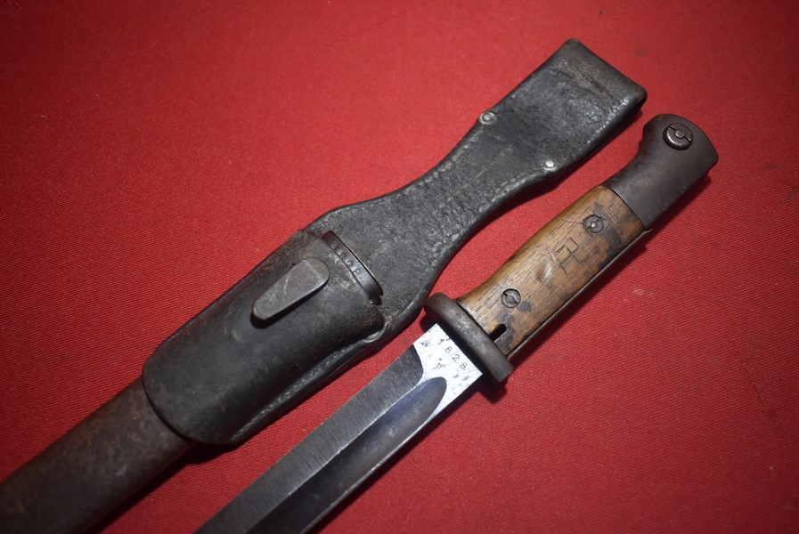 COMBAT USED WW2 GERMAN K98 BAYONET, MATCHING NUMBERS-SOLD