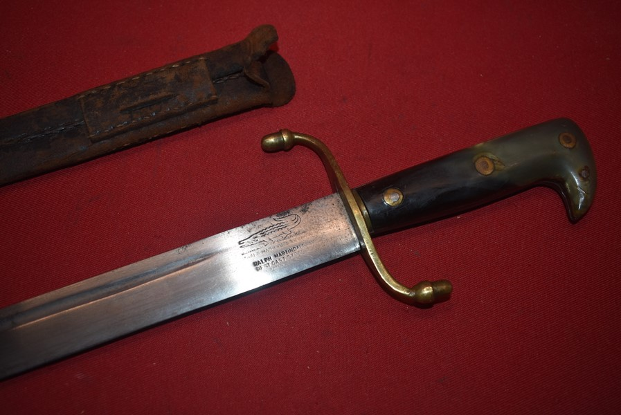 19th CENTURY BRITISH GREEN HORN HANDLED MACHETTE BY MARTINDALE