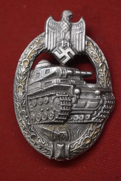 WW2 GERMAN PANZER ASSAULT BADGE SILVER GRADE MAKER A.S. IN TRIANGLE
