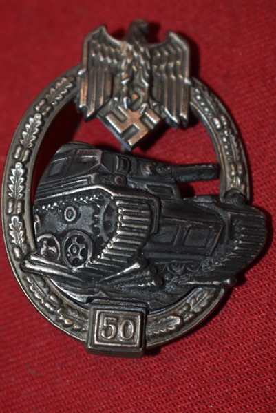 WW2 GERMAN PANZER ASSAULT BADGE 50 ENGAGEMENTS BY A.S.-SOLD
