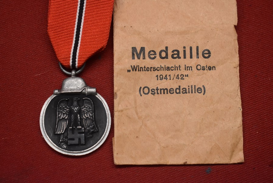 WW2 GERMAN EASTERN/RUSSIAN FRONT MEDAL WITH PACK OF ISSUE.