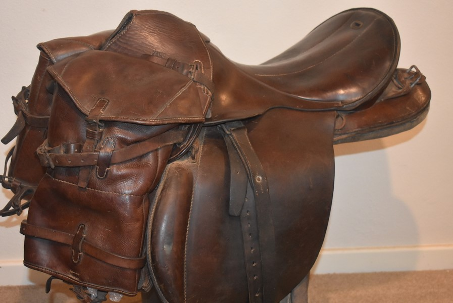 WW2 GERMAN CAVALRY SADDLE AND SADDLEBAGS COMPLETE