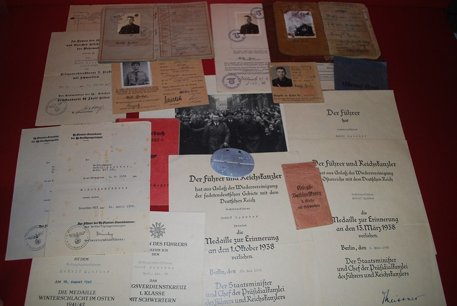WW2 GERMAN SS DOCUMENT AND MEDAL GROUPING