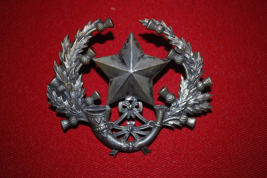 VICTORIAN PERIOD SCOTTISH CAMERONIANS HELMET/SHAKO BADGE-SOLD