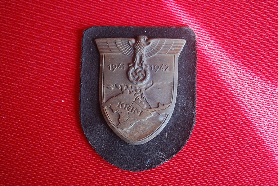 WW2 GERMAN KRIM ARM SHIELD SS OR PANZER - SOLD