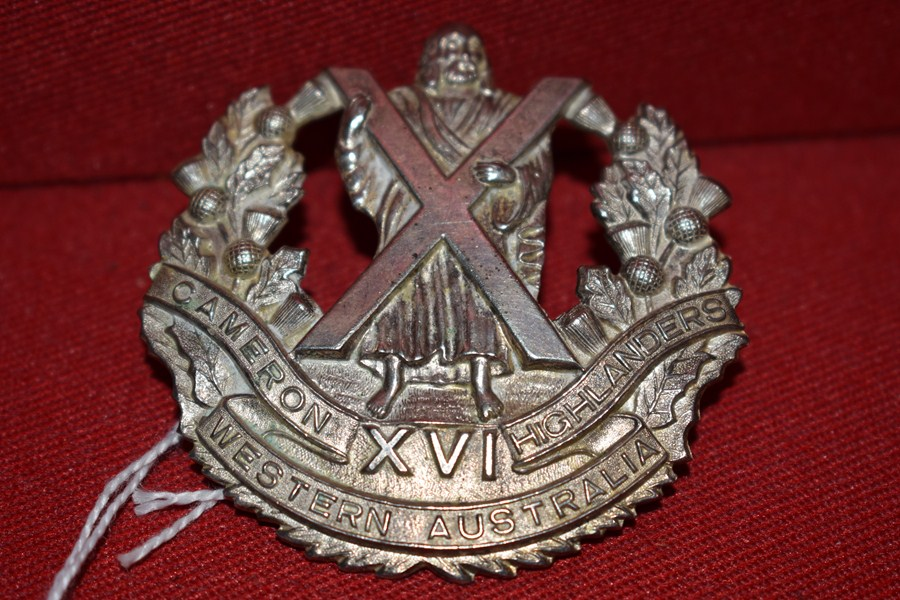 AUSTRALIAN ARMY BADGE 16 BN THE CAMERON HIGHLANDERS OF WESTERN AUSTRALIA. 30-42-SOLD