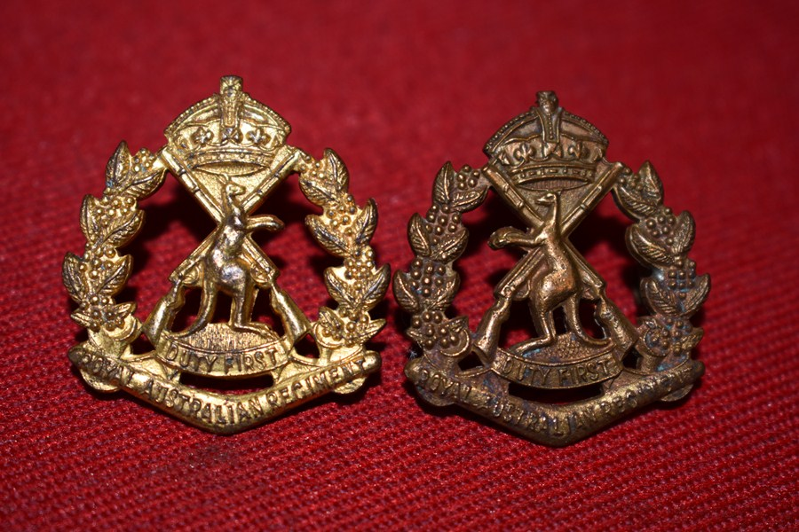 AUSTRALIAN ARMY PAIR OF COLLAR BADGES. ROYAL AUSTRALIAN REGIMENT (SKIPPY) 48-53.-SOLD
