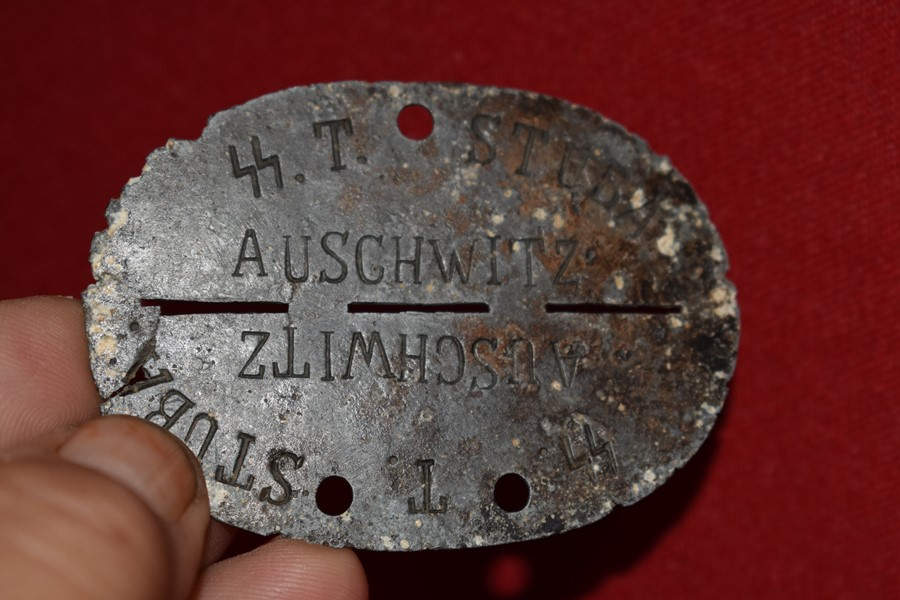WW2 GERMAN SS DOG TAG TOTENKOPF AUSCHWITZ-SOLD