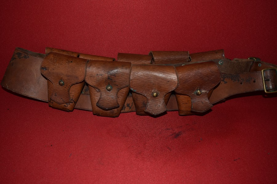 WW1 LIGHT HORSE 9 POCKET LEATHER BANDOLEER