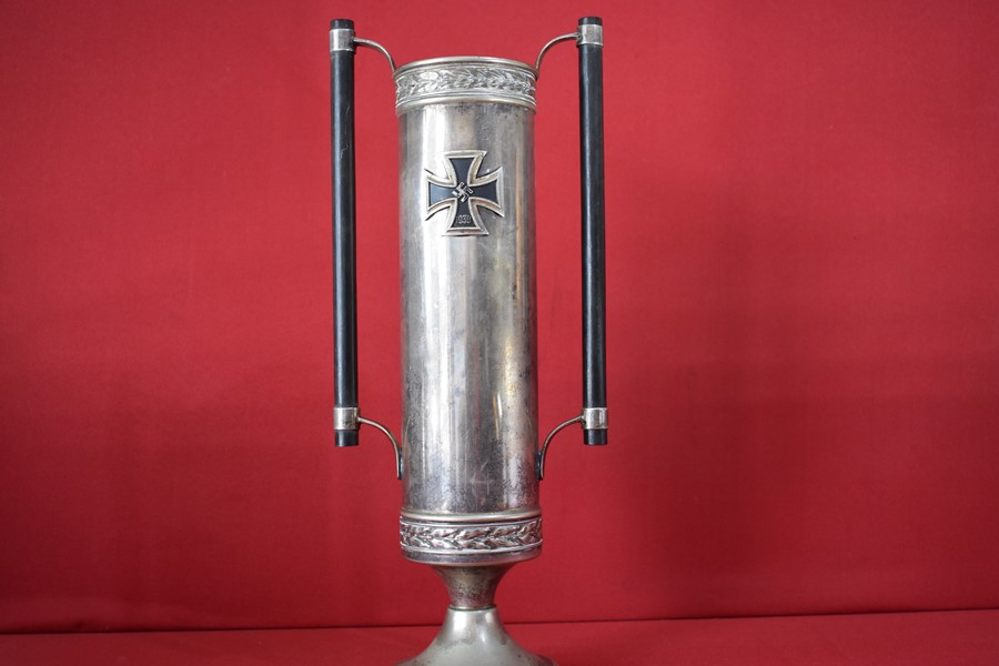 WW2 GERMAN SILVER PLATE PRESENTATION VASE IRON CROSS FIRST CLASS-SOLD