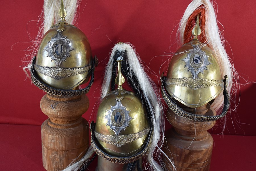 COLLECTION OF MINI 1871  PATTERN DRAGOON HELMETS